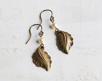 Antiqued Brass Curved Leaf Dangle Earrings with Custom Pearl Color