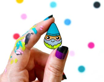 happy little garden gnome pin / hand painted laser cut wood flair lapel badge with rubber back / gnomie spring kawaii