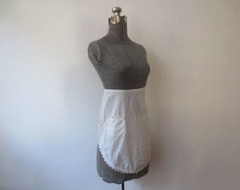 Vintage '50s White Cotton Linen Simple, Rounded French Maid Apron