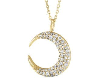 Diamond Moon Necklace - VS1 Diamonds. 14k, 18k Yellow, Rose, White Gold & Platinum. Celestial and Stars Fine Jewelry