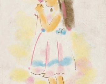 Girl Print - The Silent Flower - Girl with Flower - A4 Children Print, Kids Wall Art, Kids Wall Decor, Children Art, Nursery Print