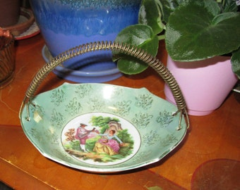 Vintage Victorian Fragonard bowl Courting Couple Limoges France Serving Dish with Wire Handle