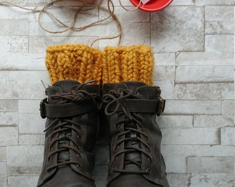 Chunky Mustard Boot Cuffs, boot topper, boot inserts, Wellie toppers - ONE SIZE