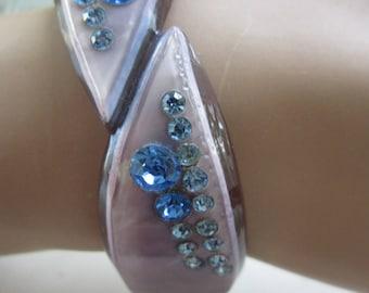 Art Deco Lavender Celluloid Bracelet Blue Rhinestones Vintage Hinged