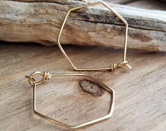 Gold Hoops, Hexagon Earrings, Geometric Earrings, 14k Gold Filled Hoops, Everyday Earrings, Hexagonal, Minimalist, Simple, Light Weight