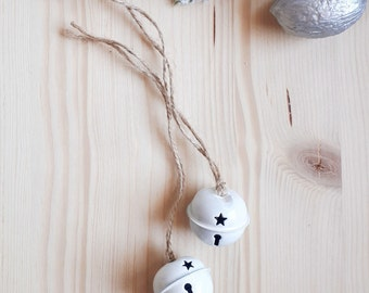 Set of 2 White Christmas Bells with star cutouts and jute string, Xmas Gift Wrap,Rustic Chic Xmas Deco,Jingle Bell,Christmas Home Decor,Noel