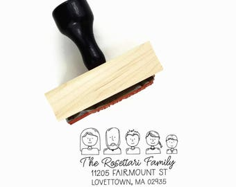 Custom Family Portrait Address Stamp - Family Avatar Illustration Return Address - Wood Mounted Rubber Stamp - Unique Housewarming Gift