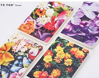 Flower Theme Notebooks - A5 size, sketchbooks, blank pages notebook, hard cover notebook, journal, stationery, school, office