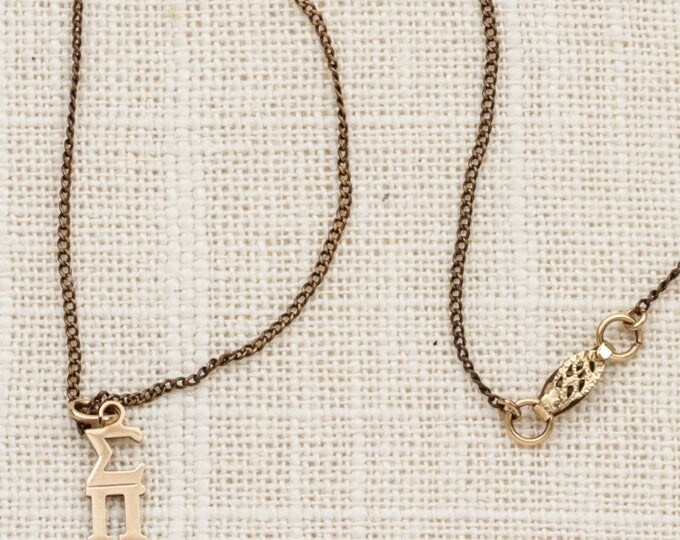 Sigma Pi Charm Necklace Vintage Gold Chain Sorority Greek Letters Fraternity Costume Jewelry 7L
