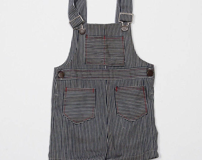 Vintage Kids Overall Shorts | Toddler Unisex Pinstripe Coveralls | 4DD