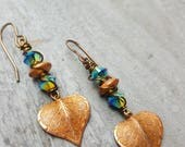 Earrings, Swarovski crystal and copper leaf dangle earrings