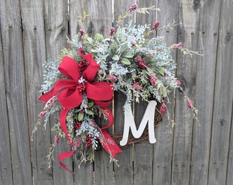Holiday Wreath, Christmas Wreath, Icy Wreath, Christmas Red Felt, Door Wreaths, Christmas and New Years Decor, Wedding