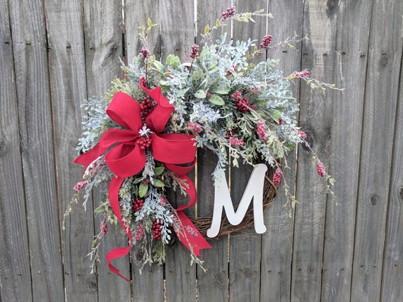 Holiday Wreath, Christmas Wreath, Icy Wreath, Christmas Red Felt, Door Wreaths, Christmas and New Years Decor, Wedding