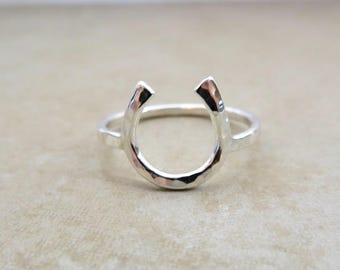 Horseshoe Ring, Lucky Charm Ring, Sterling Silver, Hammered, Horse Lover, Equestrian, Handmade, Unique Rings, Minimalist, Western Jewelry