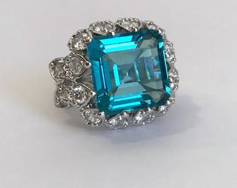 Vintage Sterling Silver Blue Tourmaline Multi Stone Estate Jewelry Ring Emerald Cut  Blue Stone Step Cut Large Stone