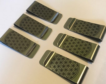 Six Pack of Flower of Life Money Clips - wholesale lot, bulk for vending Sacred Geometry vendors