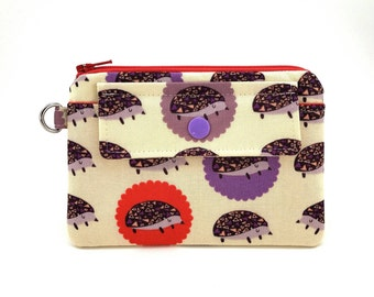 Hedgehog Coin Purse - Zipper Pouch - Snap Pouch - Keychain Wallet - Change Purse - Small Wallet - Gift ideas - Padded Pouch