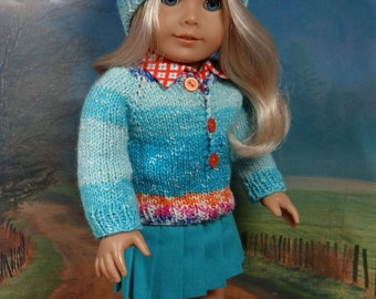 Turquoise skirt, orange blouse with multicolored pullover sweater and hat for American Girl, Tonner doll or similar 18 inch doll.