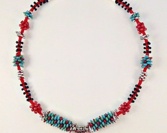RED, TURQUOISE and SILVER Beaded Kumihimo Necklace with Coral Heart Pendant