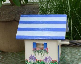 Mini, rustic, blue, beach cottage, handpainted birdhouse