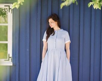 Linen Dress for Women, Shirt Dress, Summer Dress, Maxi Dress, Womens Linen Clothing, Casual Dress, Light Blue Linen Dress, Flare Dress