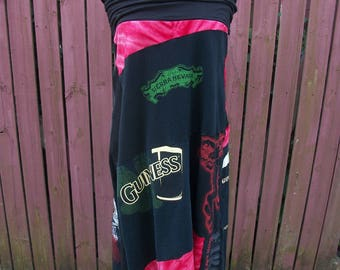 Tshirt Skirt-Drinkin Dress-Upcycled Jersey Cotton Skirt-Summer Concert Clothing-Large
