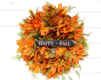 Fall Wreath-Fall Home Decor-Door Sign-Autumn Door Wreath-Fall Door Wreath-Orange Wreath-Housewarming Wreath-Gift for Mom-Scented Wreath