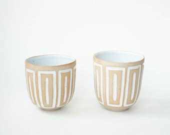 "set of 2 hand-carved ceramic cups / tumblers / mugs / raw clay with bright white glaze / window pattern // ""GROOVE"""