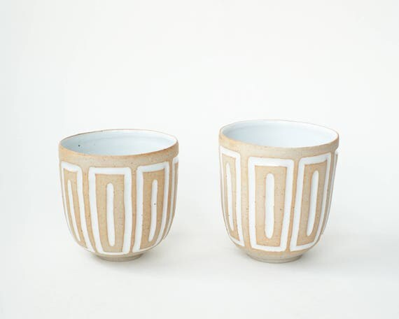 """set of 2 hand-carved ceramic cups / tumblers / mugs / raw clay with bright white glaze / window pattern // """"GROOVE"""""""