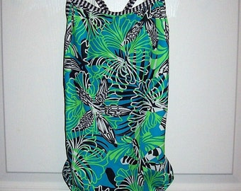 Vintage Ladies Green, Blue, Black & White One Piece Swimsuit by Dolfin Size 36 Only 10 USD