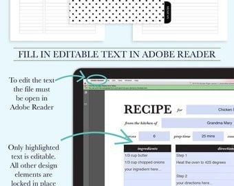 Personalized Recipe Book Binder, Family Recipe Binder Kit, Printable Recipe, Editable Recipe, DIY Recipe Binder Printable, Recipe Template