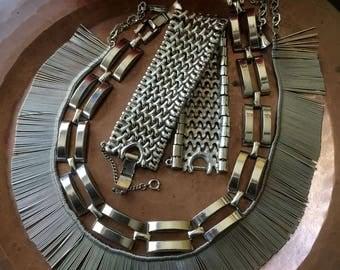 REDUCED, Vintage 1960's Silvertone Necklaces/Bracelet, Set of 3, 1960's Jewelry, 60's necklaces, Mod, Retro, Goth, Steampunk