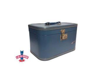 Vintage Train Case, Carilite Blue Suitcase Mid Century Modern