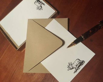 """Elk letterpress notecard set.  One boxed set of 10 Flat A-2 size cards (4 1/4"""" by 5 1/2"""") and envelopes."""