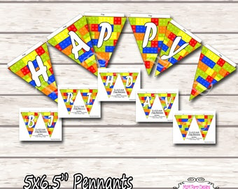 Building Blocks Banner. Birthday Party Banner  Instant Download