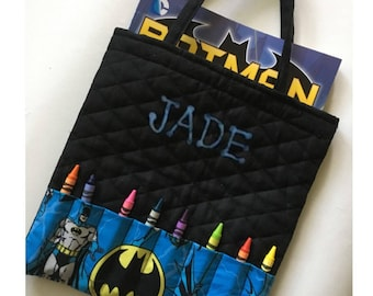 Batman Personalized Coloring Book and Crayon Tote