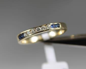 14K Yellow Gold Diamond and Sapphire Band