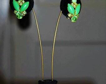 JULIANA High End Designer Peridot Green Rhinestone Glass Earring ED24