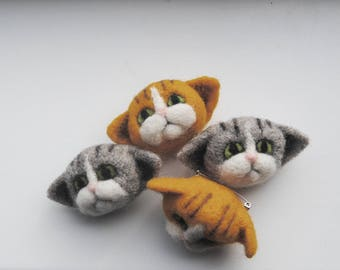 Cat Brooch, Needle Felted Cat Pin, Cute Tabby Kitten, Cute Cat Gift - READY TO SHIP