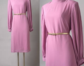 Vintage Dress, 80s dress, Vintage Pink Dress, Mauve Pink Dress, Vintage Secretary Dress,Vintage formal dress,Pink Mauve dress, pleated dress