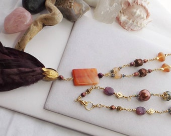 Sari Silk Ribbon Tassel, Beaded Chain Necklace, Handmade Necklace, Orange, Brown, Gold Necklace, Jesse James Beads, Boho Jewelry, Southwest