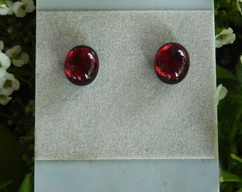 RED DICHROIC STUDS  Fused Glass Stud Post Earrings