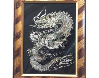 Vintage Metallic Pearlescent Dragon print in Original Tiger Stripe Frame