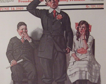THE RECITATION Print By Norman Rockwell The Saturday Evening Post Bookplate 1919 Ready To Frame