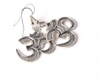 Antique Silver Ohm, Om, Aum Charm Earrings on Your Choice of Hypoallergenic Surgical Stainless Steel or 925 Sterling Silver Ear Wires