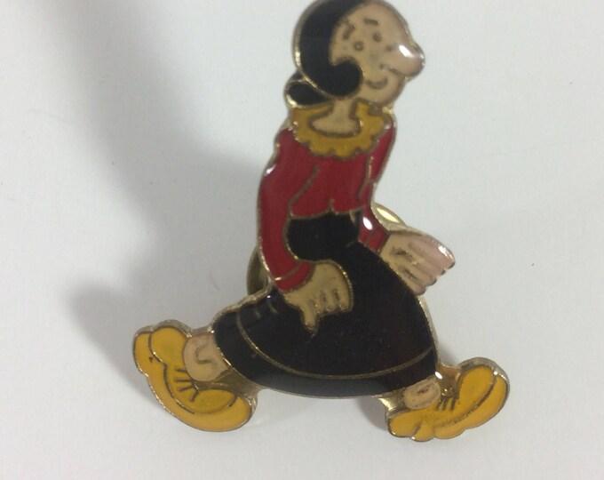 VIntage Olive Oil enamel pin back, Olive Oil lapel pin, cartoon pin, vintage cartoon pin, Popeyes girlfriend pin back