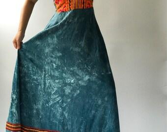 DR0010 Unique handmade Tie dye spandex maxi dress