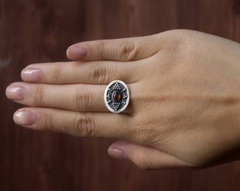 Silver ethnic garnet ring,boho silver ring,classic romantic ring,small elegant ring with garnet,silver ethnic boho jewelry ring,silver boho