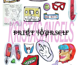 GIRL POWER - Print Yourself - Art Stickers - mockup printable sheet instant download
