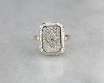 Upcycled Diamond Dinner Ring, Diamond Birthstone, Art Deco Ring 1TZ3ULX5-R